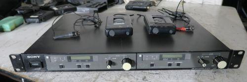 Sony wireless radio mic kit setup with 2x rack mount wrr820 receivers, (854-862mhz)  2x mics, 2x beltpacks