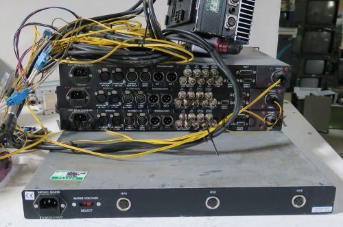 3x Cove broadcast rack mount fibre optic camera units, 1x camera data back
