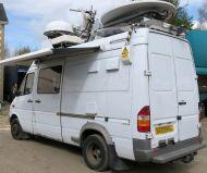 OB43 UKI912 Mercedes sprinter HDSDI high deinition MPEG4 (and MPEG2) Ku band DSNG satellite truck with 1.5m advent dish, 2x xicom 400w Twta HPAs, Panda generator, 12m mast for microwave