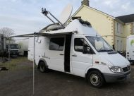OB60 Left hand drive (europe)  Mercedes 2005 sprinter SNG sat truck with 1.5m vislink dish, generator, hpas,