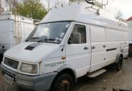 SOLD   OB55 Iveco  7 metre rack ready van with 12metre mast and pan / tilt head. MOT